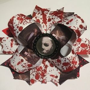 Michael Myers horror stacked hair bow